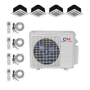 COOPER AND HUNTER Quad 4 Zone Ductless Mini Split Ceiling Cassette Air Conditioner Heat Pump 9000 9000 9000 12000
