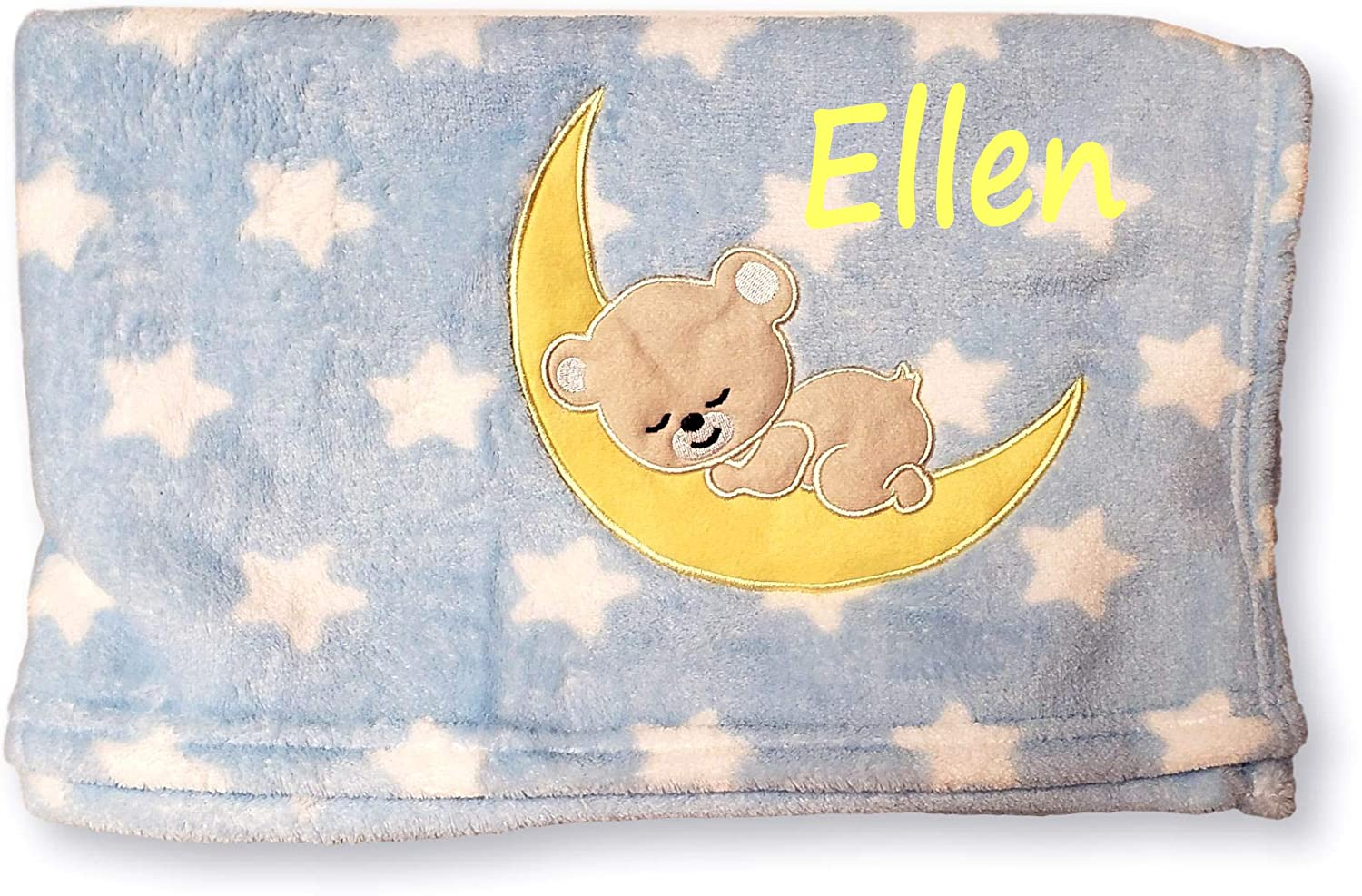 Little Bear on The Moon Fleece Newborn Baby Ultra Soft /& Cuddle Blanket with Embroidered Applique