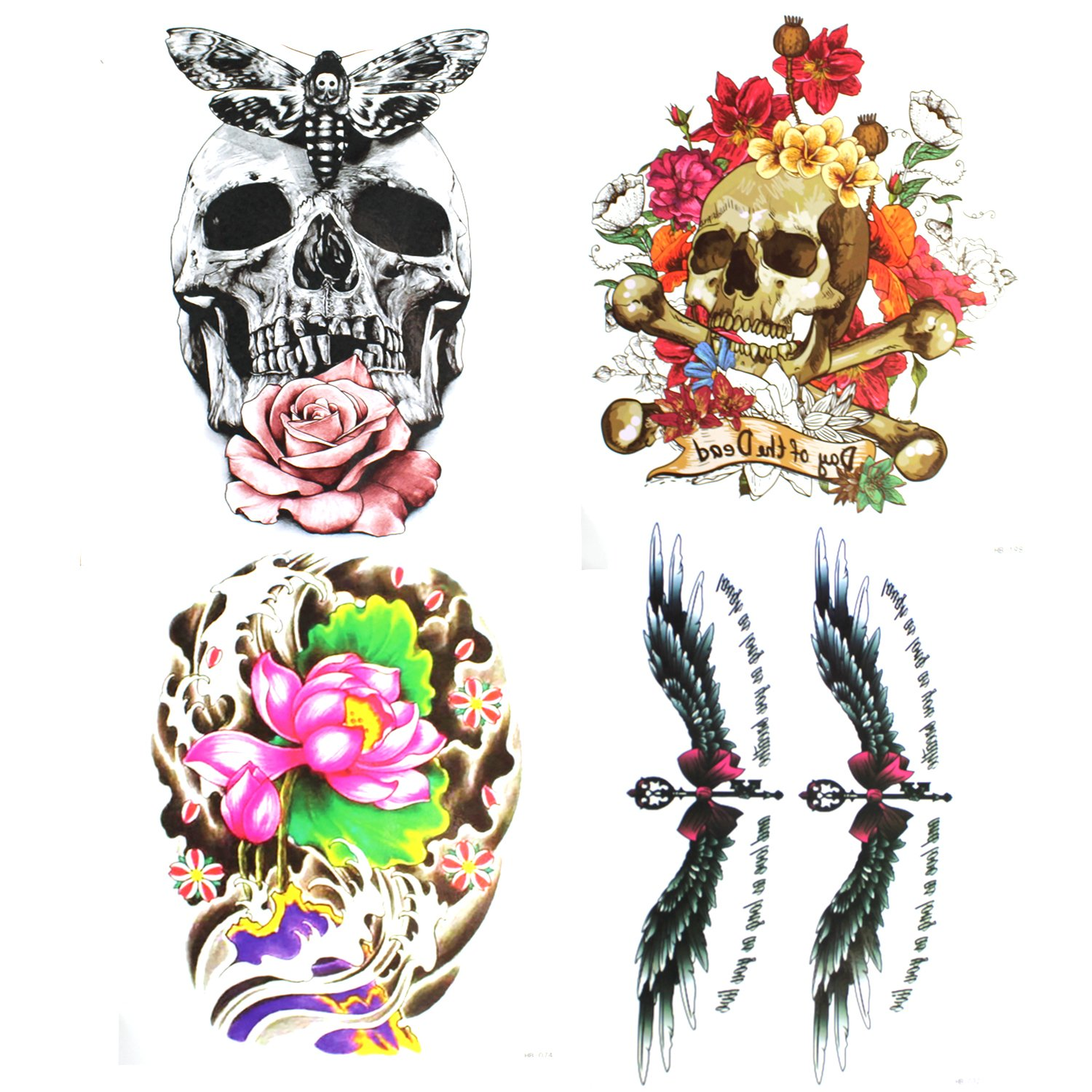 Alohha Large Lady Temporary Tattoo, Lotus Rose Flower Body Art Wing Skull Butterfly Bow Word Fake Tattoo Transfer for Women Men 4 Sheets …