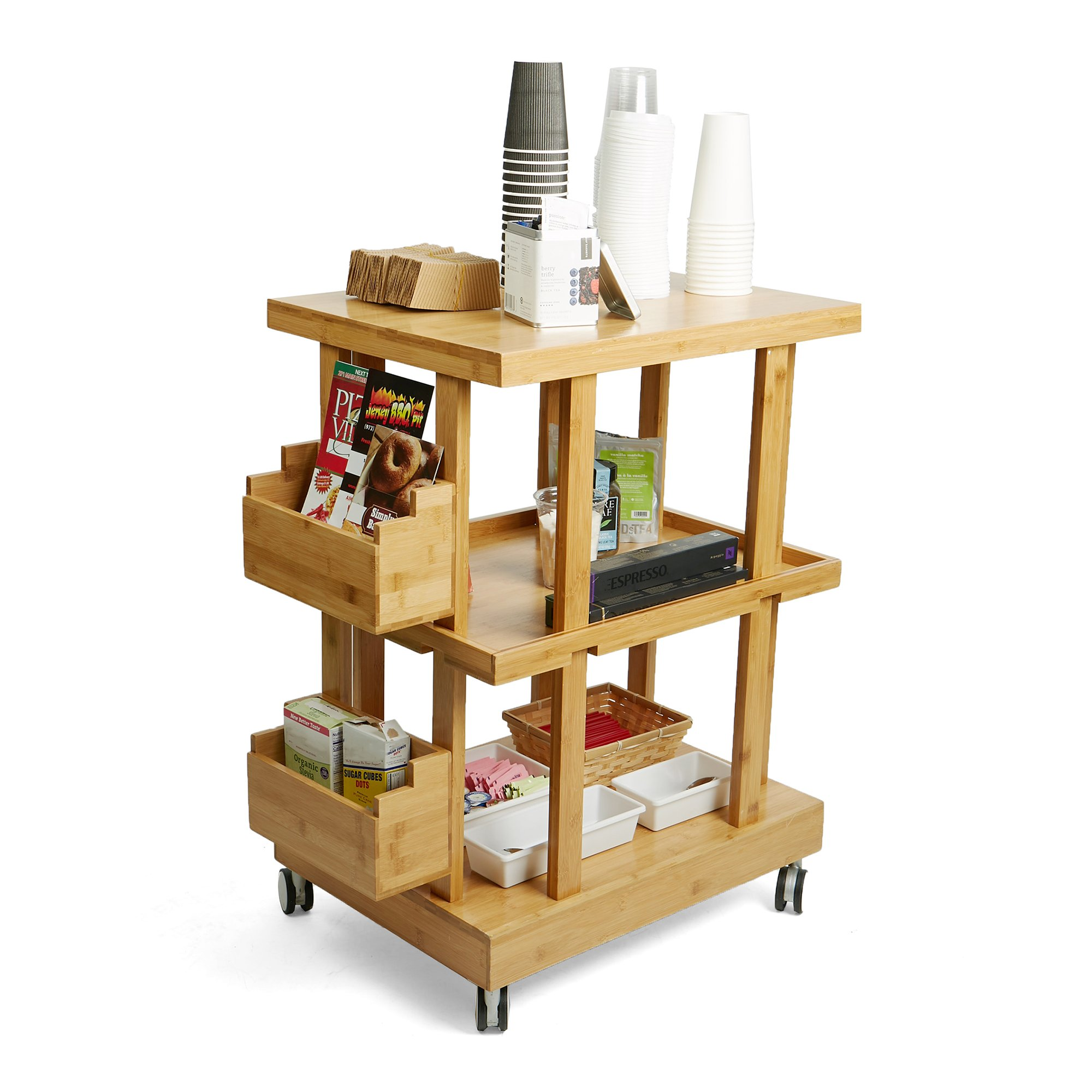 Mind Reader 3-Tier Kitchen Utility Cart with 2 Storage Compartments, Bamboo Wood, Brown by Mind Reader (Image #2)
