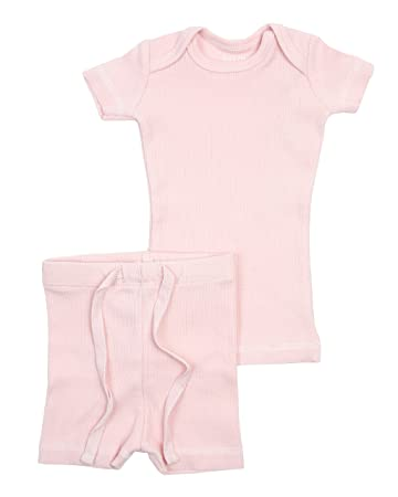 B&D Unisex 2 Piece Outfit - Pajama. Soft Cotton Fitted Ribbed Short Sleeved with Shorts