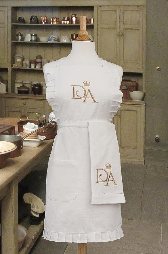 Encaje de Patrimonio Downton Abbey Downton House Toalla de té, 18 por 71,12, Color Blanco/Oro: Amazon.es: Hogar