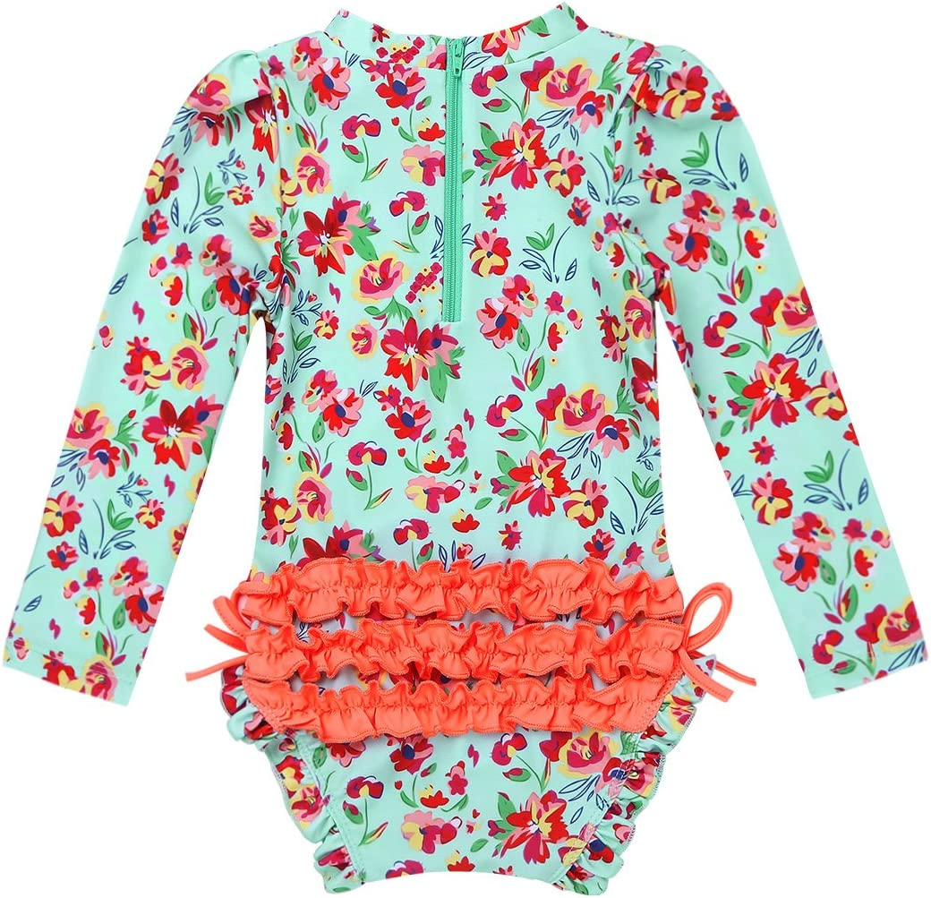 CHICTRY Baby Girl Infant One Piece Ruffles Flower Sun Protective Swimsuit Rash Guard Shirt with Long Sleeve