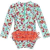 FEESHOW Infant Baby Girls Elastic Waist Silky Swimming Bottom UPF50 Rash Guard Ruffle Swim Brief Swimwear Beachwear