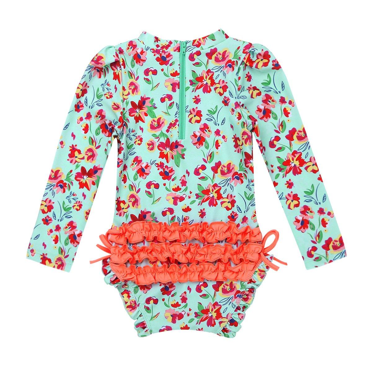 iiniim Baby M/ädchen Badebekleidung Einteiler Badeanzug Blumen Druck Kinder Tankini Bikini UV-Schutz Bademode F/ür 0-24 Monate