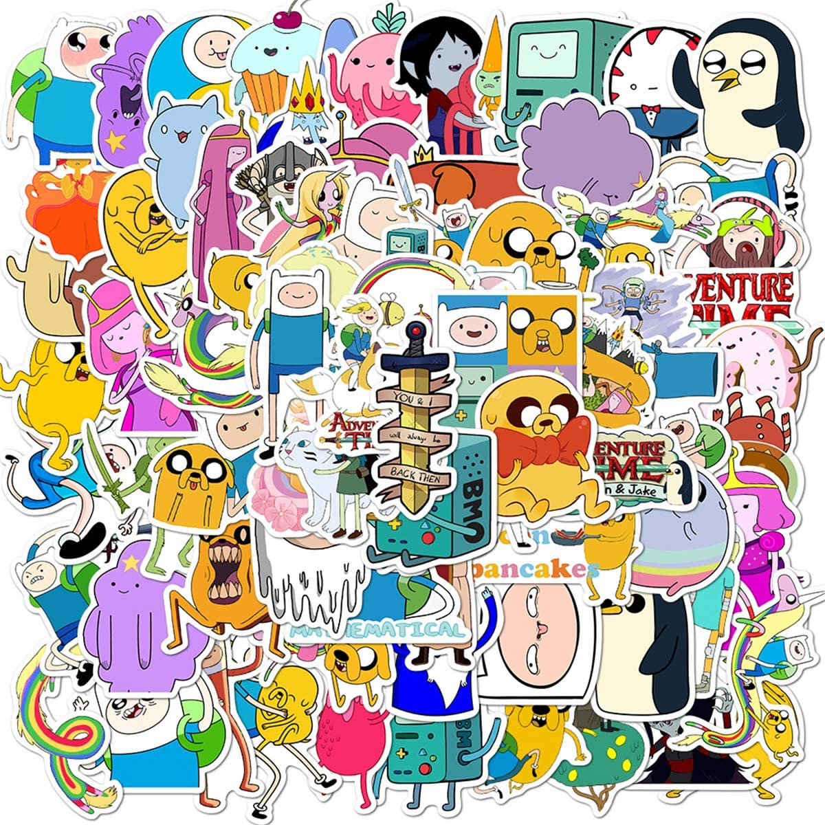 100PCS Adventure Time Stickers, American Cartoon Anime Adventure Time with Finn and Jake Stickers for Kids, Teens, Girls, Adults for Laptop, Water Bottle, Car, Skateboard. Adventure Time