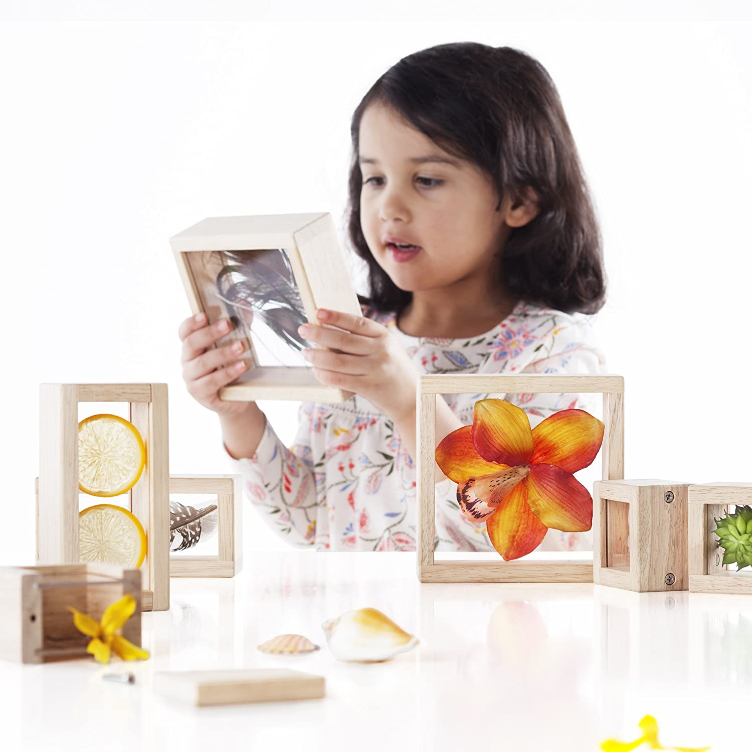 /Educational Toy for Kids Smooth Wooden Observation Stacking Blocks with Transparent Windows Guidecraft Treasure Blocks Clear