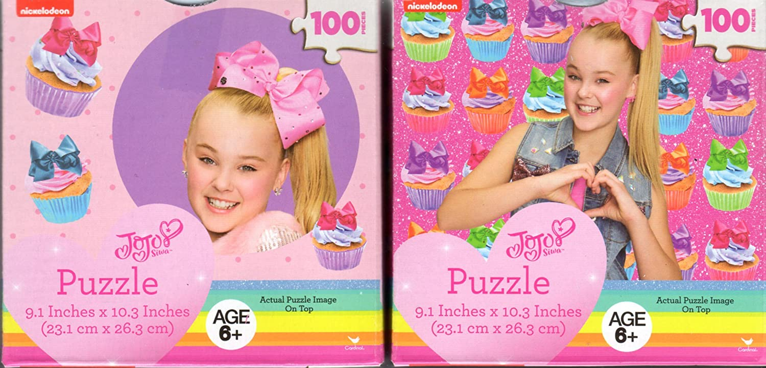 2 100 Piece Puzzles Sweet is my Swagger and Super Cute Ages 6 Cardinal JoJo Siwa Puzzles in Cube Shaped Box Perfect for Stocking Stuffers Bundle of 2 Items