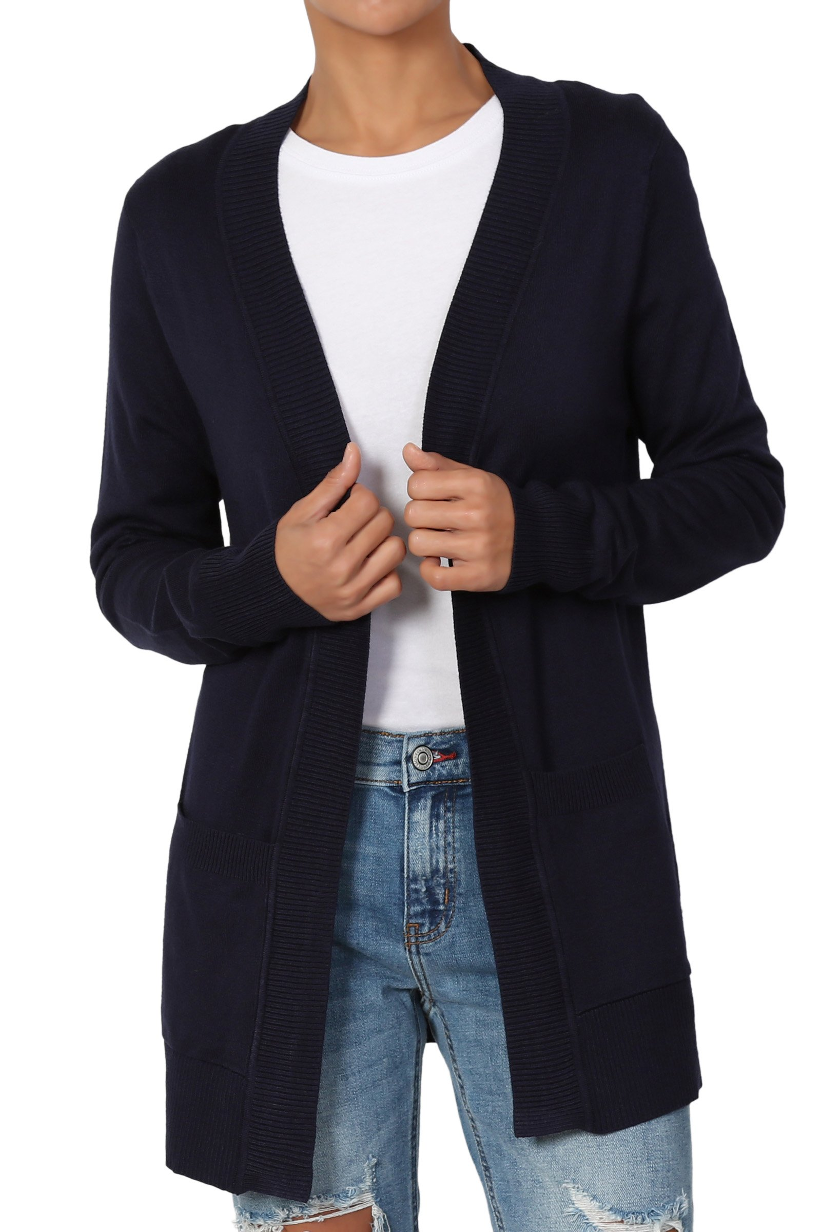 TheMogan Women's Open Front Pockets Knit Sweater Cardigan Navy 3XL