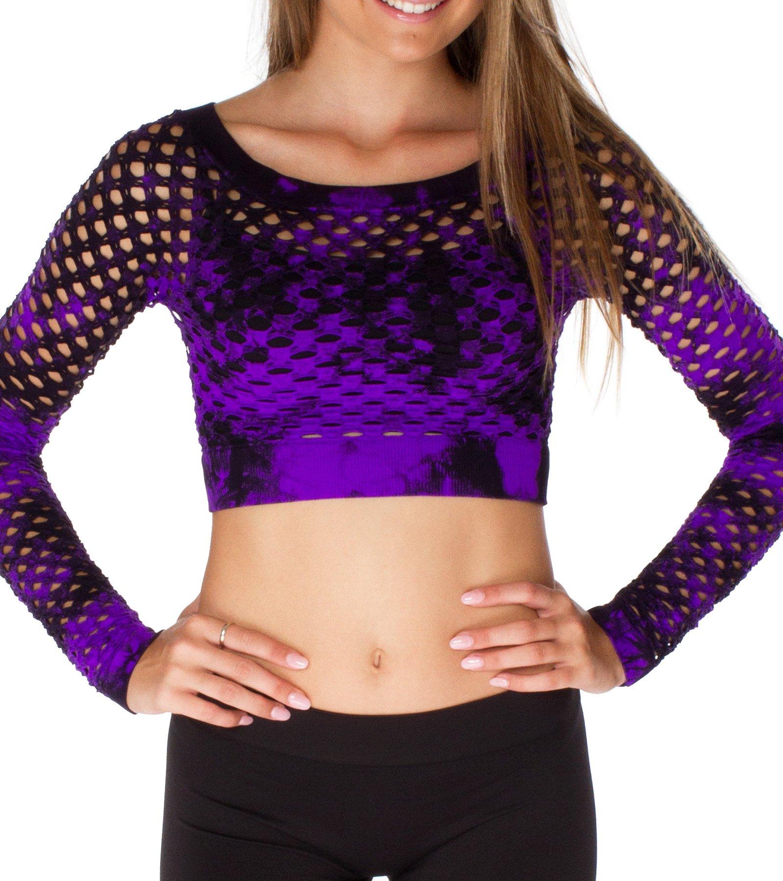 88e19592b9beef Galleon - Malibu Sugar Girls 7-14 Mesh Tie Dye Long Sleeve Crop Top One  Size Neon Purple Black