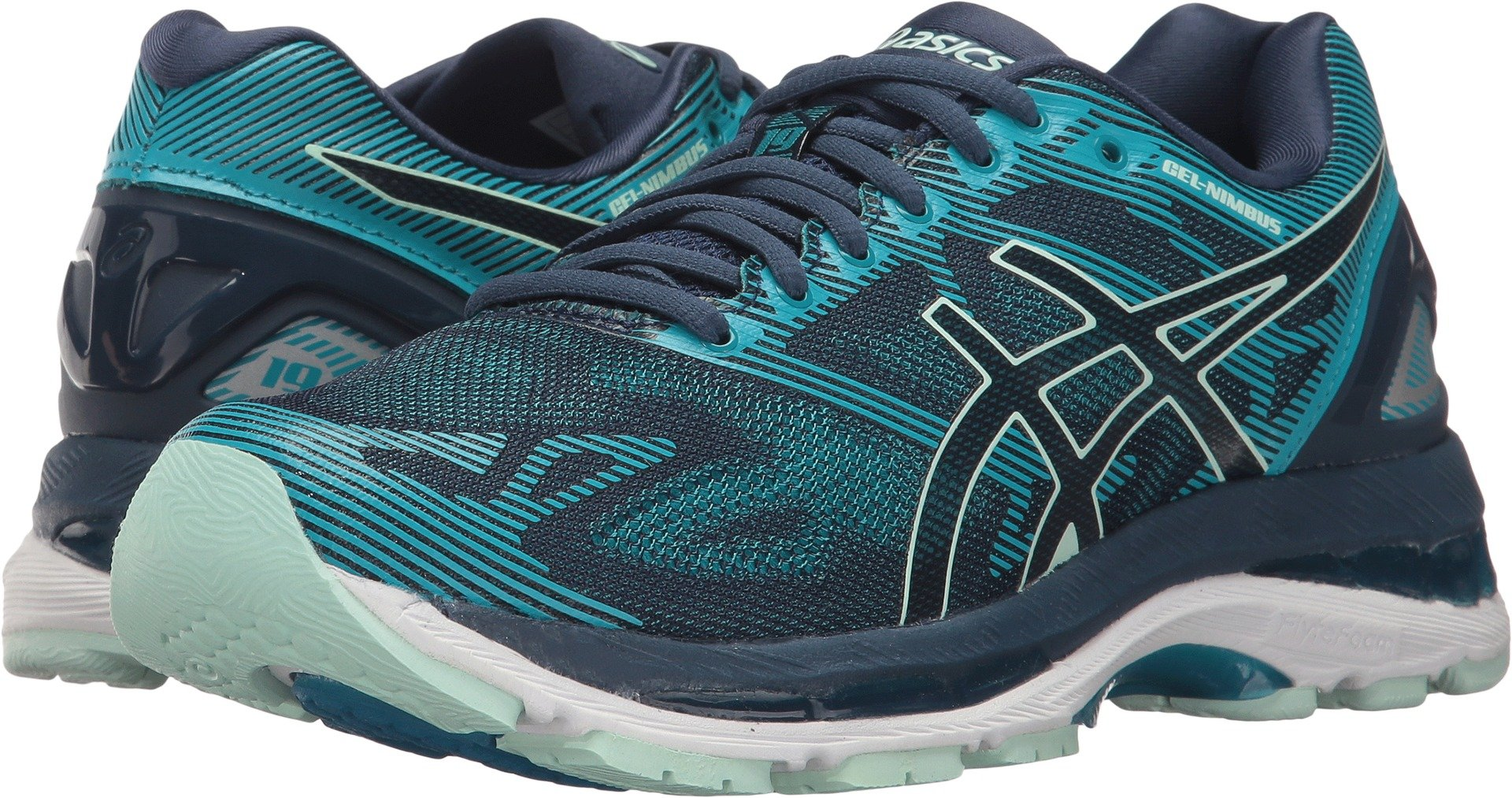 ASICS Women's Gel-Nimbus 19 Running Shoe, Insignia Blue/Glacier Sea/Crystal Blue, 7.5 Medium US