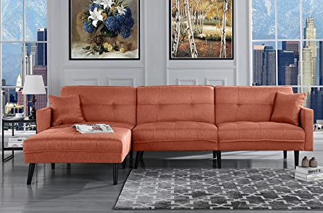 Enjoyable Orange Futon Sleeper Sofa Bed Couch Convertible Futon Sofa Sectional With Chaise Sofa To Bed Feature Modern Futon Sofa Beds L Shaped Lounger Camellatalisay Diy Chair Ideas Camellatalisaycom