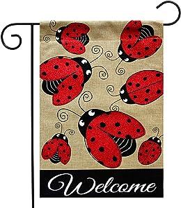"Briarwood Lane Ladybug Gathering Burlap Spring Garden Flag Welcome 12.5"" x 18"""
