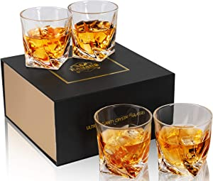 KANARS Crystal Whiskey Glass with Gift Box, Twisted Rocks Glasses for Bourbon, Scotch or Whisky, Old Fashioned Cocktail Tumblers Set of 4