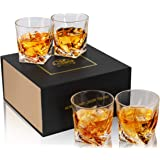 KANARS Crystal Whiskey Glasses, Set of 4 Rocks Glasses with Luxury Box - 10 Oz Old Fashioned Tumblers for Drinking Bourbon Sc