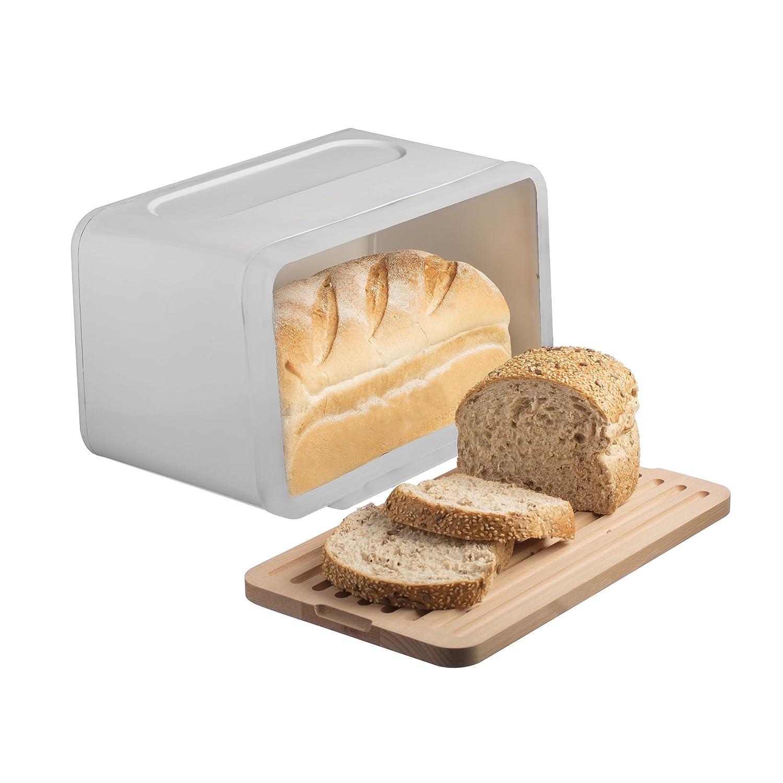 typhoon hudson bread bin stainless steel white amazoncouk  - typhoon hudson bread bin stainless steel white amazoncouk kitchen home
