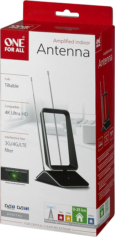 One For All SV9465 - Antena Interior de TV Ultra HD recibe TDT, Rango 25km, Negra