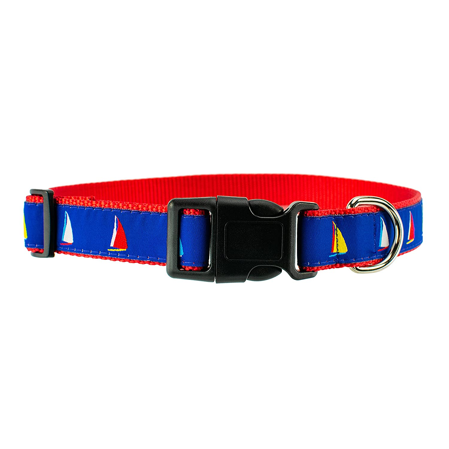 Medium 12\ DOG & COMPANY Sailboats Pattern 1  Wide Heavy Duty Adjustable Pet Collar (Medium)