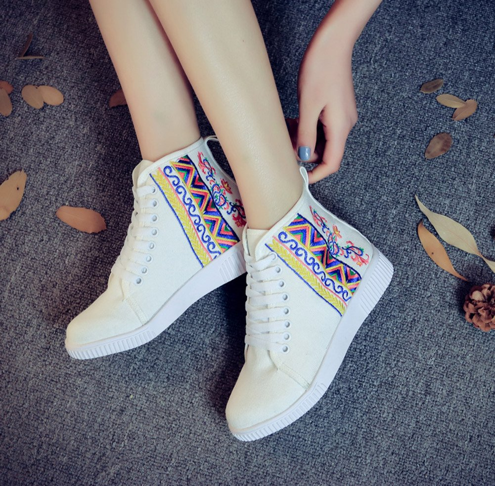 AvaCostume Womens Embroidery High-top Flats Casual Lace-up Walking Shoes B01M32Z6YR 40 M EU|White