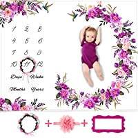Baby Monthly Milestone Blanket Girl - Floral Large Plush Fleece Growth Chart Blanket...