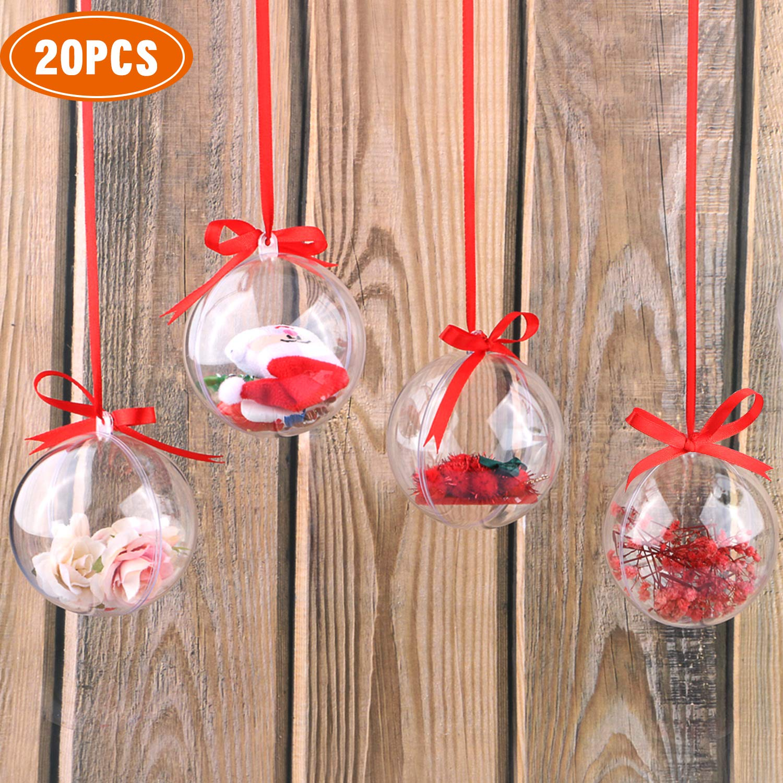 WisFox Confezione da 20 Palline di Natale Trasparenti, 80mm Clear Christmas Baubles da riempire, Palline di plastica a Scatto per Decorazione e Ornamento, Infrangibile PengXuan