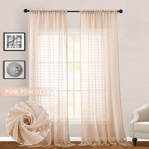 Peachpuff Pink Voile Sheers Pompom Curtains for Living Room 2 Panels Rod Pocket Semi Sheer Texture Window Treatment Drapes for Girls Room 108 Inches Long