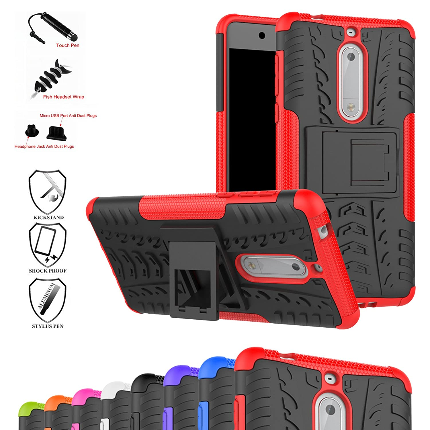 Nokia 5 Case, Mama Mouth Shockproof Heavy Duty Combo Hybrid Rugged Dual Layer Grip Cover with Kickstand for Nokia 5 5.2 inch 2017 (with 4 in 1 Packaged), Red Bigmouthstore