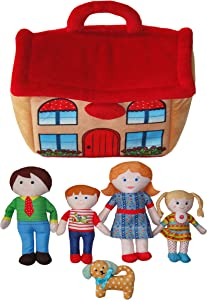 """Snuggle Stuffs Kids Happy Family 8"""" Dolls & House Educational Preschool Toy Plush Dolls for Girls 2 3 4 5 Years Old - Set of 6"""