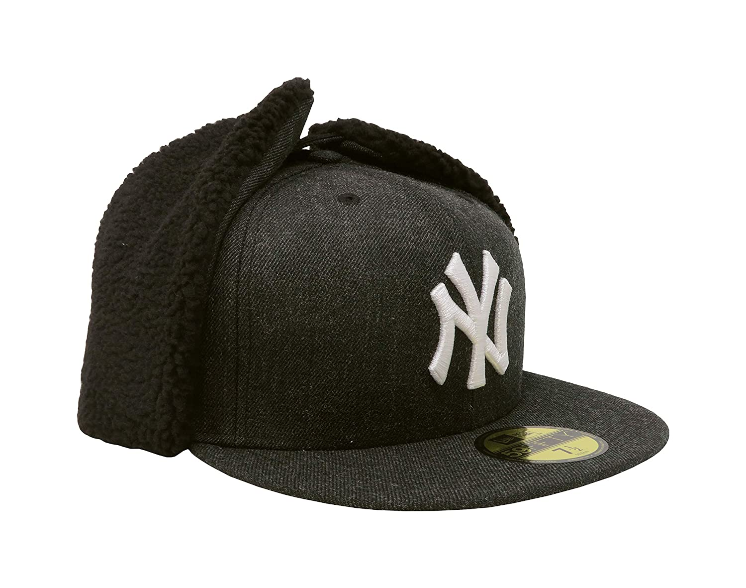 e1c0d676ee7ca4 Amazon.com : New Era 59Fifty Hat New York Yankees Heathered Dogear Black  Winter Cap : Sports & Outdoors