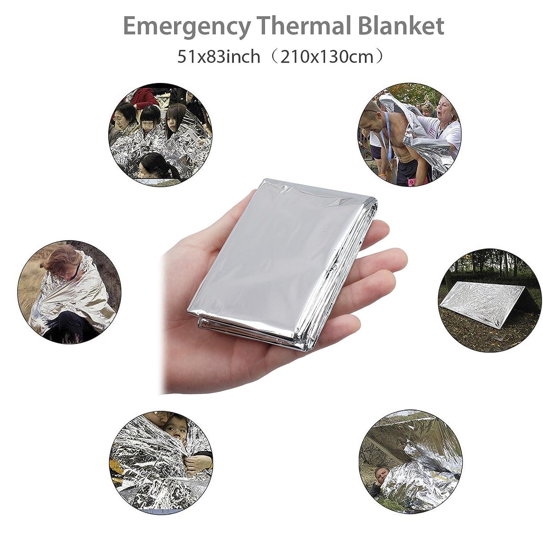 Kamtop Kit de Supervivencia 13 en 1 Paquete de Supervivencia de Bolsa de Herramientas con Manta de Emergencia y Multifuncional Bolsa de Supervivencia de Emergencia para Viajar Caminar Acampar al Aire