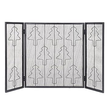costzon pantallas de chimenea decorativa para árbol de Navidad chimenea 3 paneles plegable valla de acero inoxidable seguro para el bebé Guardia: Amazon.es: ...