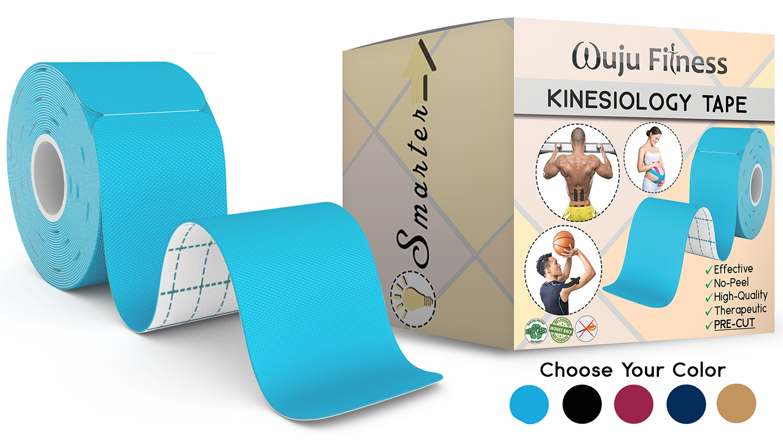 """Athletic Tape for First Aid Kit, Physical Support Therapy, Sports Exercises. Lower Back, Heel, Foot, Joint, Shoulder, Muscle and Plantar Fasciitis Pain Relief. 20 precut Light Blue KT strips 2""""x10''"""
