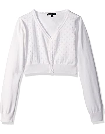 713fca610d4 My Michelle Big Girls  Heart Pointelle Long-Sleeve Cardigan Sweater