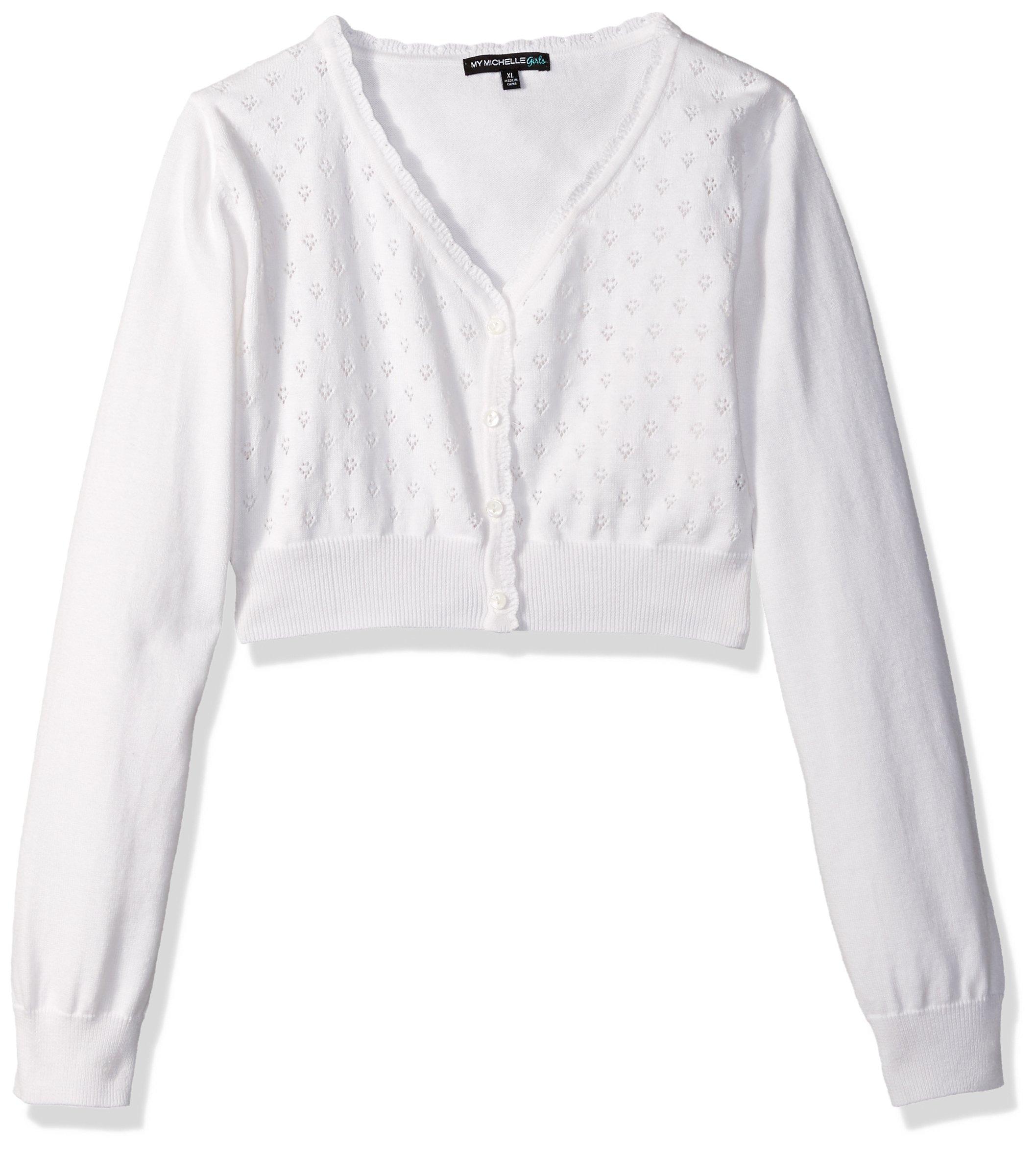 My Michelle Big Girls' Long Sleeve Pointelle Sweater, White, M