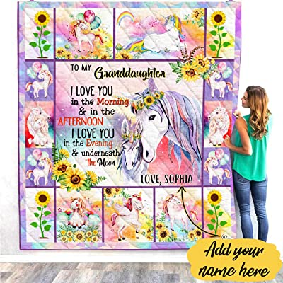 Personalized Name To My Granddaughter Unicorn Quilt Throw Fleece Blanket Comforter Christmas Birthday Little Girl Never Forget I Love You Baptism Gifts from Grandmother Grandma Nana Mimi Gigi: Home & Kitchen