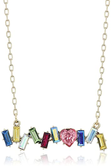 Amazon betsey johnson multi stone betsey johnson multi stone stationary pendant bar necklace 16quot mozeypictures Images