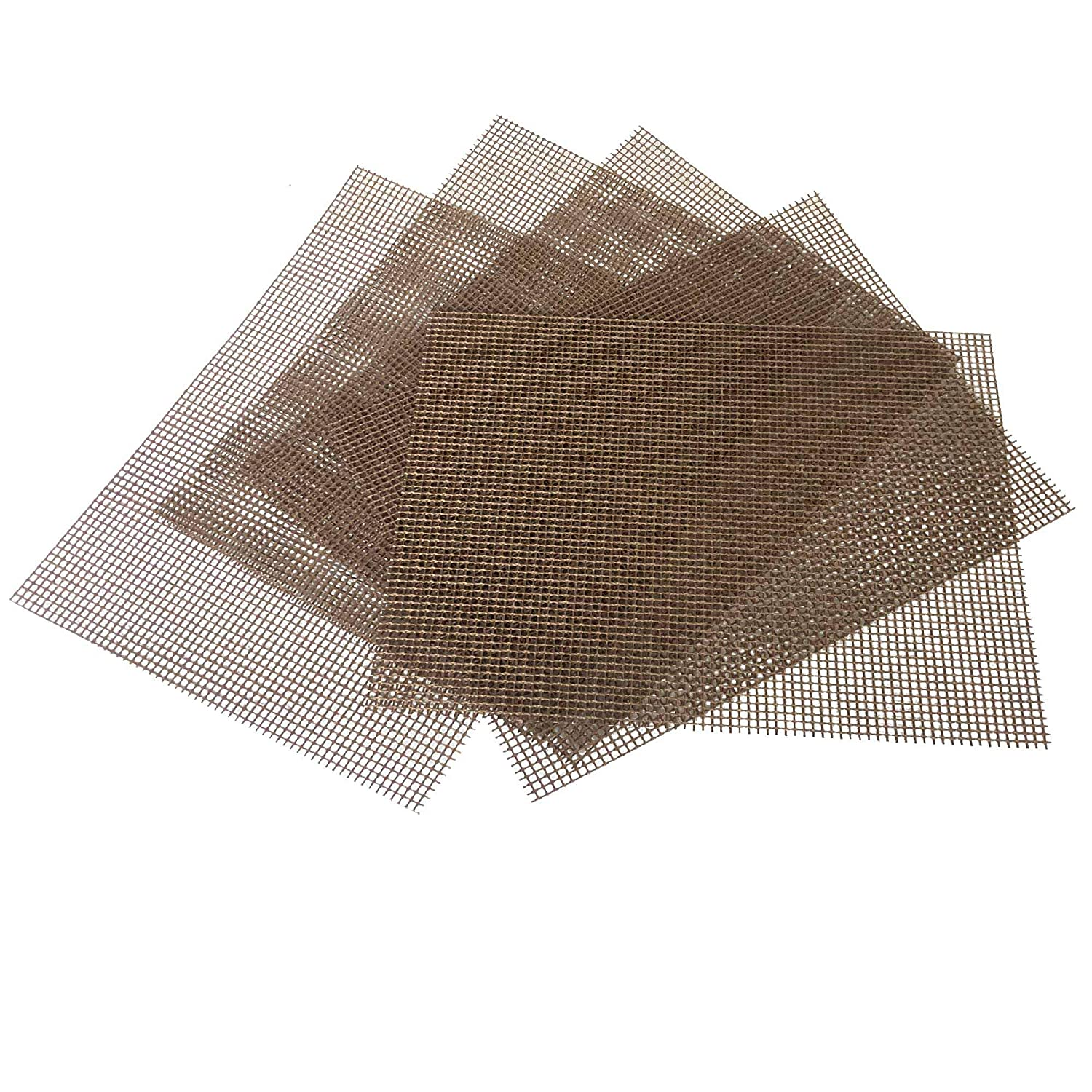 OSVINO Heat Resistant Non Stick FDA-Approved BBQ Grill Mesh Mat Set of 5 Easy to Clean, Beige