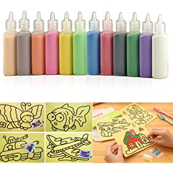 Sand Art kit , Colored Sand Art Kit Art Sand Scenic Sand wiht 10 Sheets Sand Art Painting Cards Set Children Art Toy, 12 color (0.92 LB)