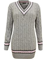 CEXI COUTURE LADIES WOMENS CABLE KNITTED V NECK CRICKET CHUNKY JUMPER SWEATER GREY