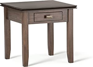 SIMPLIHOME Artisan SOLID WOOD 21 inch wide Square Contemporary End Side Table in Natural Aged Brown with Storage, 1 Drawer, for the Living Room and Bedroom