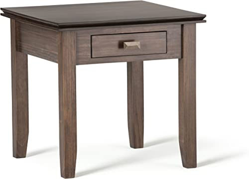 SIMPLIHOME Artisan SOLID WOOD 21 inch wide Square Contemporary End Side Table