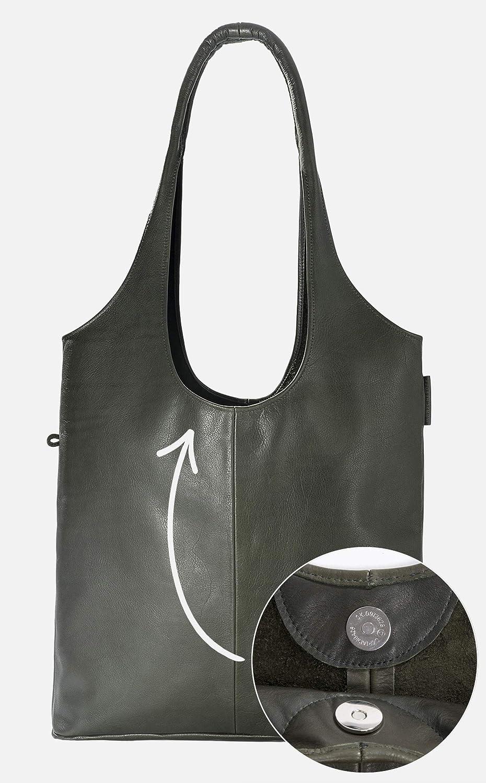 Wunschleder Hobo Bag, Shopper av äkta läder, med magnetlås och innerficka sportväska Grön