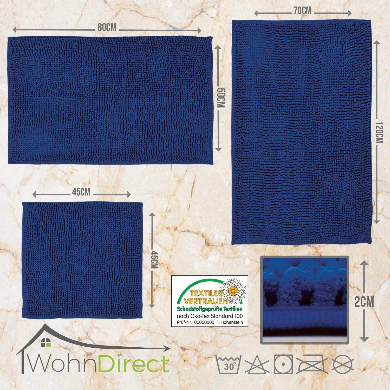 /Alfombra de ba/ño Azul Oscuro Antideslizante y Lavable 50 x 80 cm wohndi rect Alfombrilla para ba/ño Alfombrilla Mullido 45/x 45/cm 50/x 80/cm Moderna Alfombrilla de Ducha |/ 70/x 120/cm