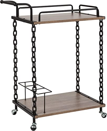 Taylor Logan Kitchen Server and Bar Cart with 3 Bottle Compartment, Light Oak Wood
