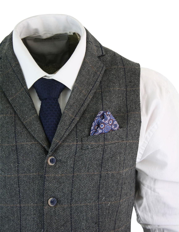 Cavani Gilet Elegante da Uomo in Tweed Classico Vintage a Scacchi