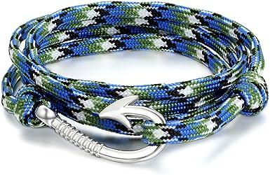JewelryWe Joyería Pulseras de Gancho Marino Marinero, Cuerda de Nailon Cómodo Ligero, Brazalete de Moda, Pulsera Militar Azul de Hombre Mujer, Pulseras para El Verano 2017: Amazon.es: Ropa y accesorios