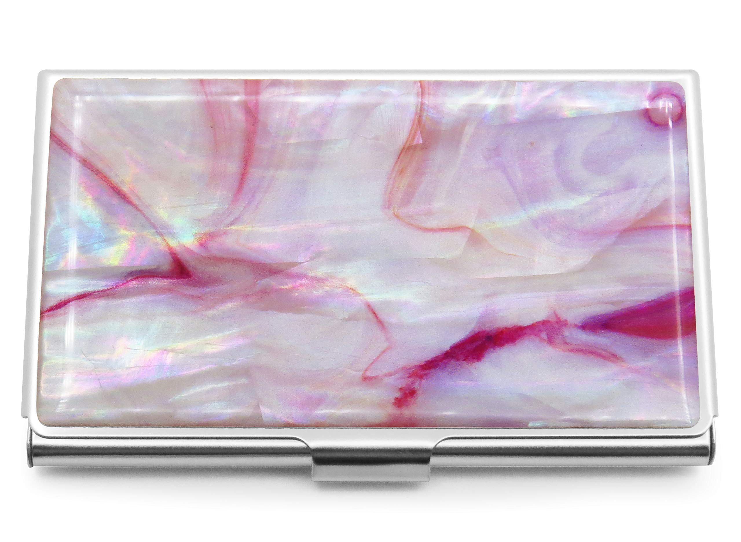 Business Credit Card Holder Id Case Mini Wallet Mother of Pearl Marble Pink