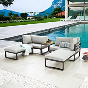 LOKATSE HOME 5 Pieces Patio Furniture Conversation Metal Sofa Set Outdoor All Weather Chaise Lounge Cushioned Chairs with Ottoman Table, Grey