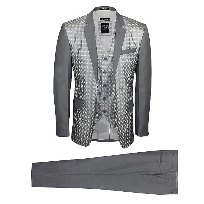 Amazon.com: Xposed para hombre gris plateado traje de 3 ...