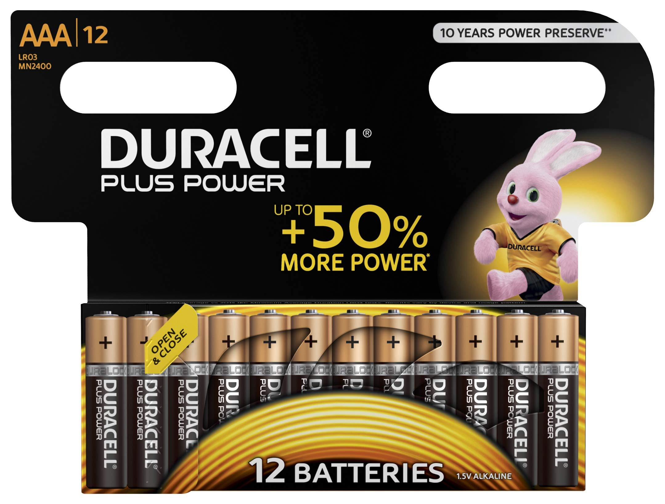 Duracell Plus Power Pilas Alcalinas AAA, paquete de 12 product image